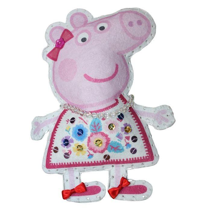 Наборы для творчества Свинка Пеппа (Peppa Pig) Шьем игрушку из фетра Пеппа-модница большую мягкую игрушку собаку лежа в москве