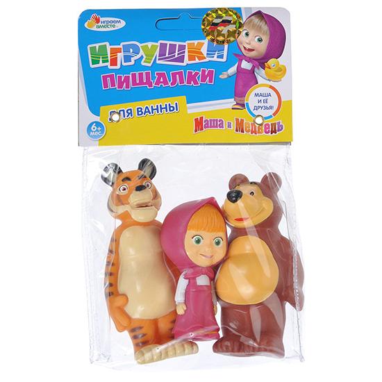 Игрушки для ванны Играем вместе Набор для ванной Маша, медведь и тигр игрушки для ванной играем вместе игрушка пвх играем вместе бычок