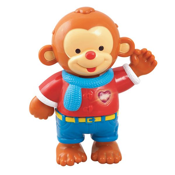 Vtech Одень обезьянкуОдень обезьянкуVtech Одень обезьянку со светом и звуком и 8 предметами одежды, которые можно комбинировать. Обезьянка разговаривает, ее фразы научат ребенка различать цвета, правильно называть предметы одежды. В процессе одевания обезьянки, игрушка проигрывает веселые мелодии и воспроизводит ободряющие фразы.   Особенности: В комплекте с игрушкой есть мешочек для хранения одежды. Развивающая игра с обезьянкой включает обучающие режимы: учимся различать цвета, учимся подбирать одежду в зависимости от типа погоды и самочувствия, узнаем предпочтения в одежде, развиваем мелкую моторику, режим вопросов для закрепления обучающего материала Сердечко обезьянки светится В репертуаре игрушки есть песенка из мультика Крошка Енот Игрушка озвучена профессиональным голосом  Функции:  Учимся различать цвета Учимся подбирать одежду в зависимости от типа погоды и самочувствия Узнаём, какие бывают предпочтения в одежде Развиваем мелкую моторику Режим вопросов Светящееся сердечко Песня из м/ф Крошка енот Музыка Озвучивание: профессиональное (одноголосое)<br>