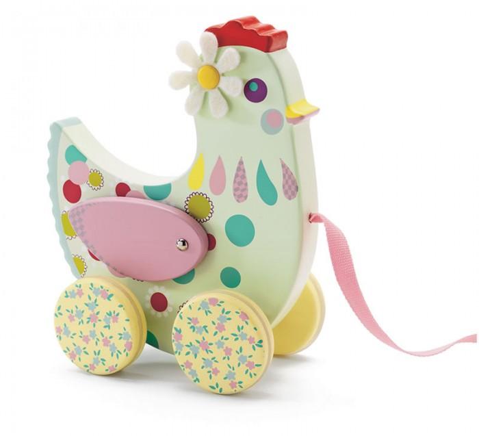 Купить Каталки-игрушки, Каталка-игрушка Djeco на веревочке Курочка