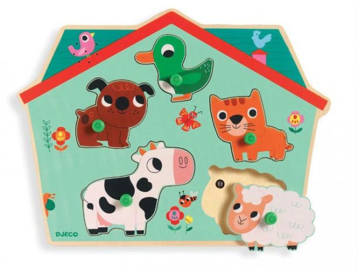 Деревянная игрушка Djeco Звуковая рамка-вкладыш ФермаЗвуковая рамка-вкладыш ФермаDjeco Звуковая рамка-вкладыш Ферма - замечательная развивающая игрушка, которая приведет в восторг Вашего малыша! Играя с этим пазлом, малыш познакомится с овечкой, коровой, собакой, кошкой и уточкой, узнает как они разговаривают, научится распознавать животных по внешнему виду и по голосу.   Задача малыша состоит в том, чтобы правильно разместить зверюшек на доске, сопоставляя форму. Если фигурка помещена правильно, ребенок услышит звук - голос животного, который порадует малыша! Круглые ручки на фигурках-вставках позволят ребенку удобно и быстро захватить деталь маленькими детскими пальчиками.<br>