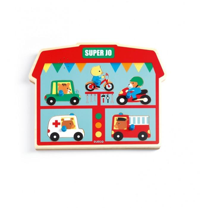 Купить Деревянные игрушки, Деревянная игрушка Djeco Звуковая рамка-вкладыш Супер Джо