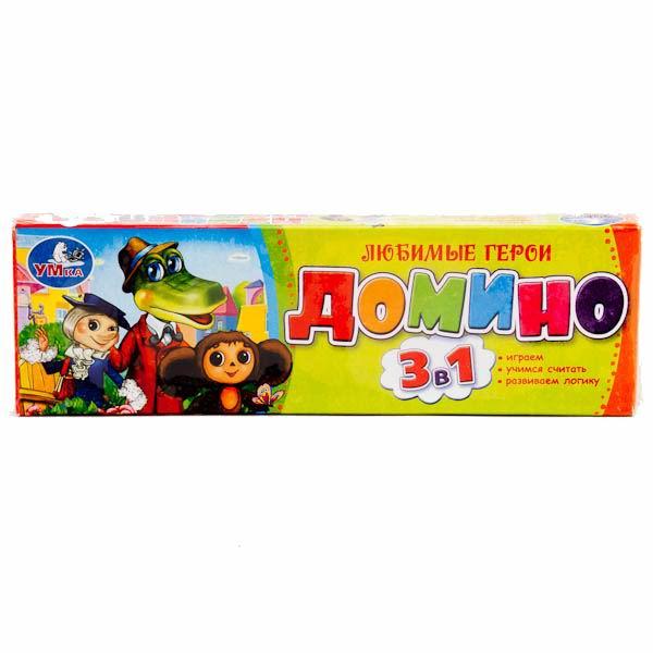 Настольные игры Умка Домино пластмассовое 3 в 1 Чебурашка