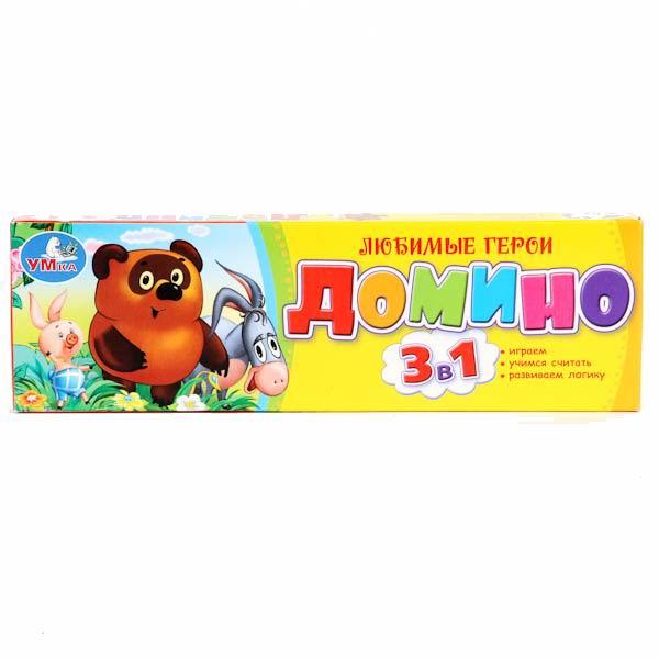 Настольные игры Умка Домино пластмассовое 3 в 1 Винни умка лесные обитатели с винни пухом