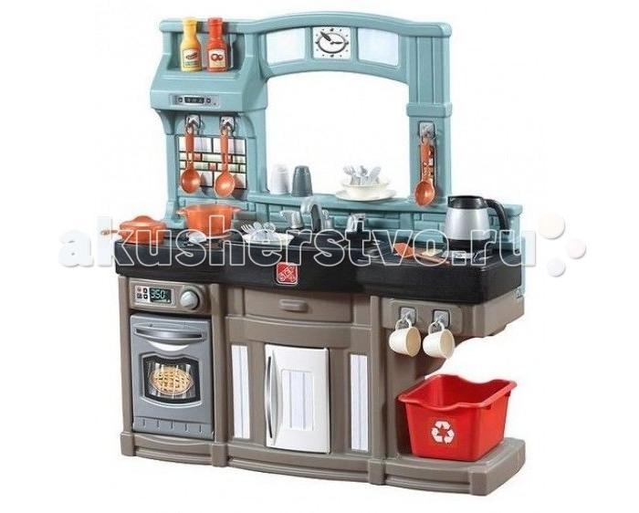 Step 2 Игровая кухня ПоварёнокИгровая кухня ПоварёнокStep 2 Игровая кухня Поварёнок имеет реалистичный и привлекательный дизайн, дети с удовольствием будут имитировать на ней процесс готовки.  Детская игровая кухня выполнена в виде единого компактного модуля со стильным дизайном, благодаря чему гармонично впишется в интерьер детской игровой комнаты.  Особенности: в центре модуля размещена раковина для мытья посуды слева плита с поворотной ручкой, имитацией огня и воспроизведением звуков характерных готовке дверцу духовки и холодильника можно открывать  для удобства расположения игровых аксессуаров предусмотрены разнообразные полочки и крючки в комплекте предусмотрен ящик и корзина для хранения овощей и фруктов; для расширения игровых возможностей предусмотрен набор тарелок, столовых приборов и другой посуды благодаря игровой кухне маленькие кулинары смогут смоделировать различные сюжеты: устроить кулинарный поединок, приготовить вкусные обед для своих кукол игра способствует развитию хозяйственных навыков, мелкой моторики рук и координации движений, пробуждает воображение и фантазию ребенка изготовлено изделие из импортного высококачественного прочного пластика, товар сертифицирован. В комплекте:  плита раковина духовка холодильник крючки полочки ящик для хранения корзина для хранения овощей и фруктов декоративный держатель для тарелок 25 аксессуаров (тарелки, столовые приборы и др. посуда).<br>