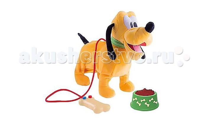 Интерактивная игрушка IMC toys Disney Собака Pluto 181243Disney Собака Pluto 181243IMC toys Disney Собака Pluto 181243 - питомец в виде героя диснеевского мультфильма, который понравится любому малышу.   Собачка умеет ходить и лаять, чтобы показать как она радуется.   В наборе: поводок для прогулки миска с кормом.  На поводке имеется 2 кнопки, если на них нажать, Pluto будет издавать звуки, ходить и вилять хвостом.<br>