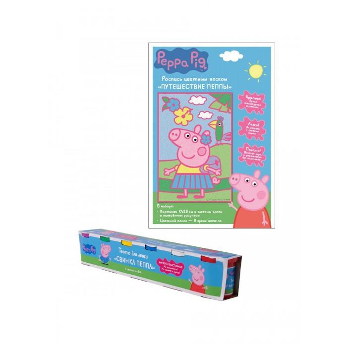 Всё для лепки Свинка Пеппа (Peppa Pig) Набор для творчества: тесто для лепки, роспись цветным песком всё для лепки playgo набор 8636