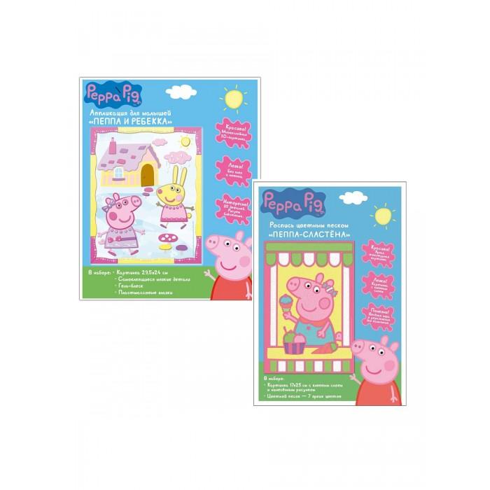 Аппликации для детей Свинка Пеппа (Peppa Pig) Набор для творчества: аппликация, роспись цветным песком всё для лепки свинка пеппа peppa pig набор для творчества тесто для лепки роспись цветным песком