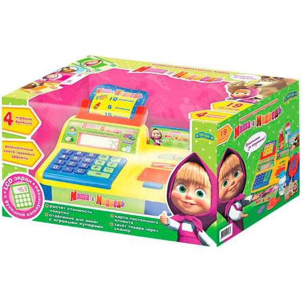 Маша и Медведь Касса GT6798Касса GT6798Маша и Медведь Касса с аксессуарами, калькулятором, светом и звуком, на батарейках. Касса- развивающая игрушка которая помогает научить ребенка считать и давать сдачу, а так же поможет разобраться с принципами работы весов и калькулятора.   Имеет LCD экран с калькулятором.<br>