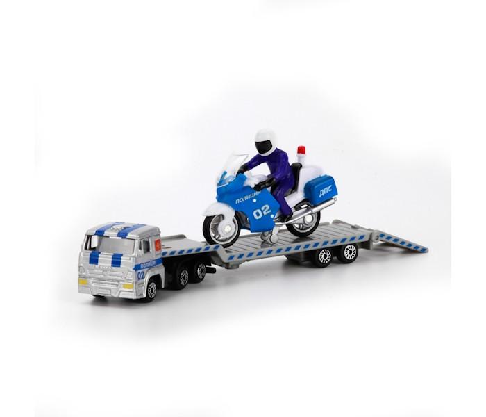 Машины Технопарк Набор Камаз перевозчик с мотоциклом на прицепе камаз транспортер с доп машинкой