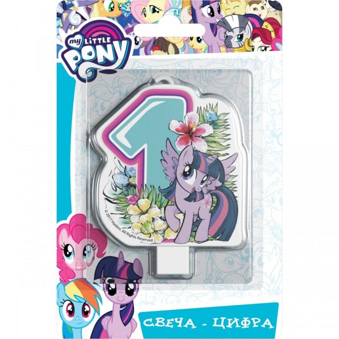 Фото - Товары для праздника Май Литл Пони (My Little Pony) Свеча-цифра № 1 Мой маленький пони набор наклеек panini my little pony movie мой маленький пони в кино 1 пакет с 5 наклейками