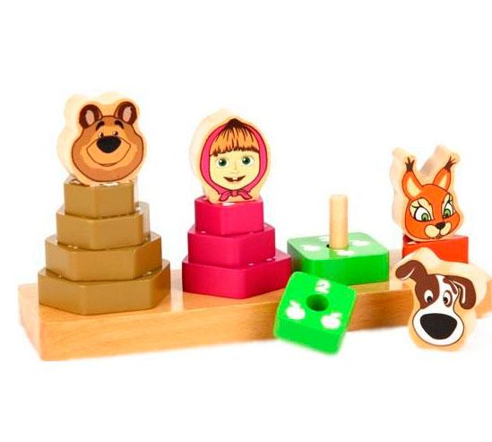 Деревянная игрушка Маша и Медведь Пирамидки