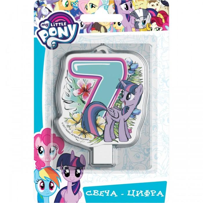 Фото - Товары для праздника Май Литл Пони (My Little Pony) Свеча-цифра № 7 Мой маленький пони набор наклеек panini my little pony movie мой маленький пони в кино 1 пакет с 5 наклейками