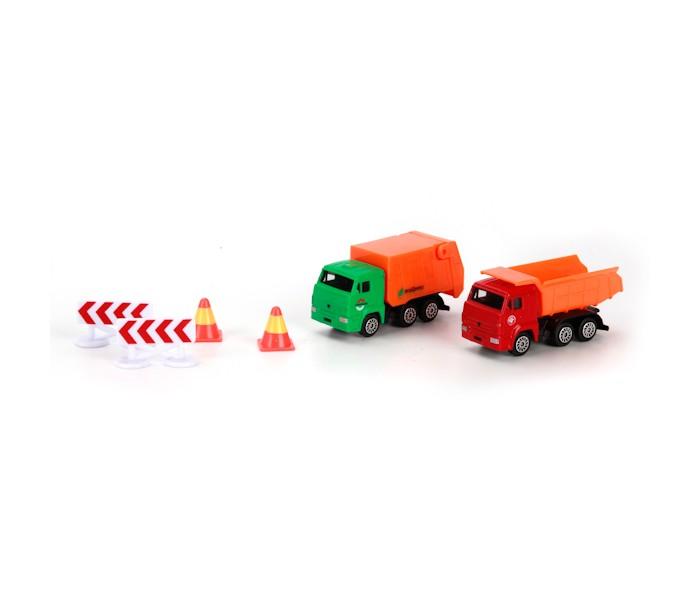 Машины Технопарк Набор Камаз стройтехника с дорожными знаками