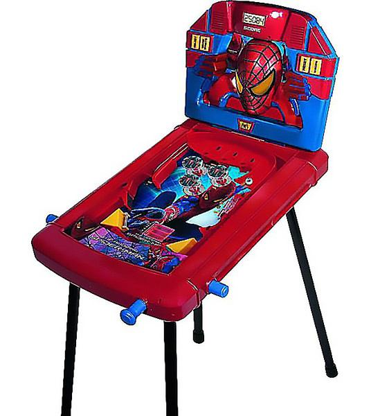 IMC toys Marvel Пинбол Spider-ManMarvel Пинбол Spider-ManIMC toys Marvel Пинбол Spider-Man - для детей, кто любит фильмы о приключениях Человека-паука. Интересная и увлекательная игра пинбол не оставит равнодушным Вашего ребенка. Можно играть нескольким детям по очереди, кто наберет больше очков.возможность организовать настоящее соревнование по пинболу.   Пинбол — это тип аркадной игры, в которой игрок набирает игровые очки, манипулируя одним или более металлическими шариками на игровом поле, накрытом стеклом при помощи лапок. Ваша цель будет заключаться в том, чтобы набрать как можно большое количество очков и максимально увеличить при этом длительность игры. Этот игровой набор полностью копирует правила популярной игры, а стилизация игрового поля и всех элементов под Человека-Паука придаст Вашему малышу уверенность в себе и азарт.  С таким игровым набором ребята смогут увлекательно провести время вместе. Игра автоматически подсчитывает очки и выводит их на электронном табло. Модель имеет звуковые и световые эффекты.<br>