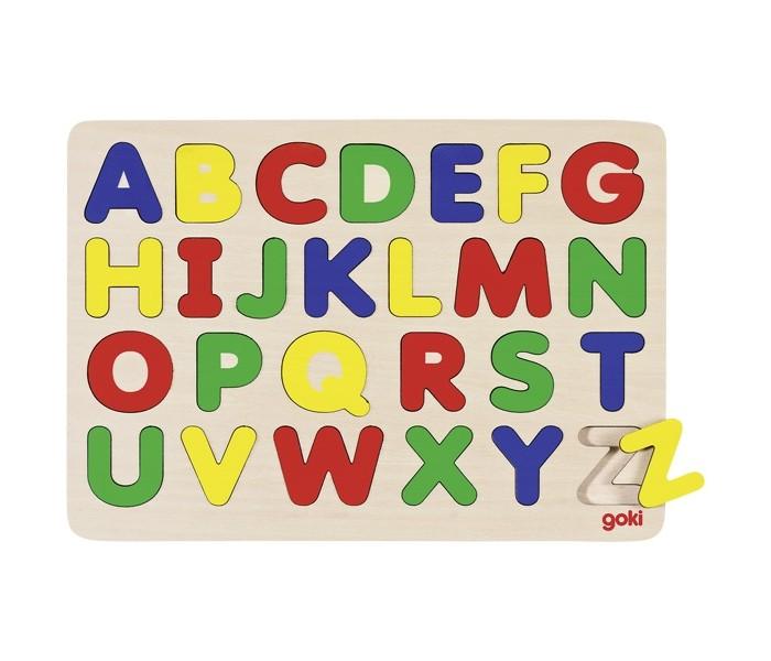 Пазлы Goki Пазл Алфавит A-Z апплика пазл для малышей английский алфавит цвет основы желтый