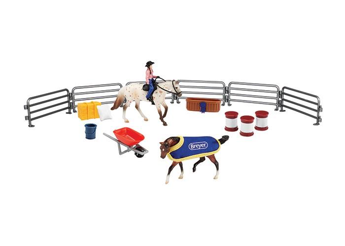Игровые наборы Breyer Игровой набор Вестерн из двух лошадей наездника и аксессуаров игровые наборы tomy игровой набор приключения трактора джонни и лошади на ферме