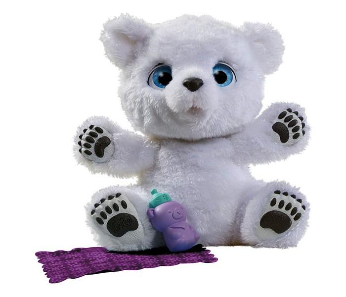 Интерактивная игрушка FurReal Friends Полярный МедвежонокПолярный МедвежонокРазвивающая игрушка PlayGo Полярный Медвежонок - это многофункциональный, высокотехнологичный питомец, который сможет стать настоящим другом вашего ребенка!   Полярный медвежонок выглядит просто очаровательно: у него белоснежная шёрстка и большие голубые глазки. А еще он является интерактивным, а, значит, играть с ним будет еще веселее! Медвежонок ведёт себя как живой: чихает, хнычет, реагирует на прикосновения к носу и поглаживания головы. Ребёнок сможет с удовольствием играть с интерактивным медвежонком, покормить его из бутылочки, накрыть одеялком и всячески ухаживать за ним. Такой великолепный подарок обязательно вызовет восторг у всей семьи.    Особенности:  реалистичный внешний вид;  в комплект бутылочка и одеялко;  реагирует на прикосновения к носу и поглаживания головы;  оснащена звуковыми эффектами. Для работы игрушки требуются 3 батарейки типа A76 1.5V.<br>