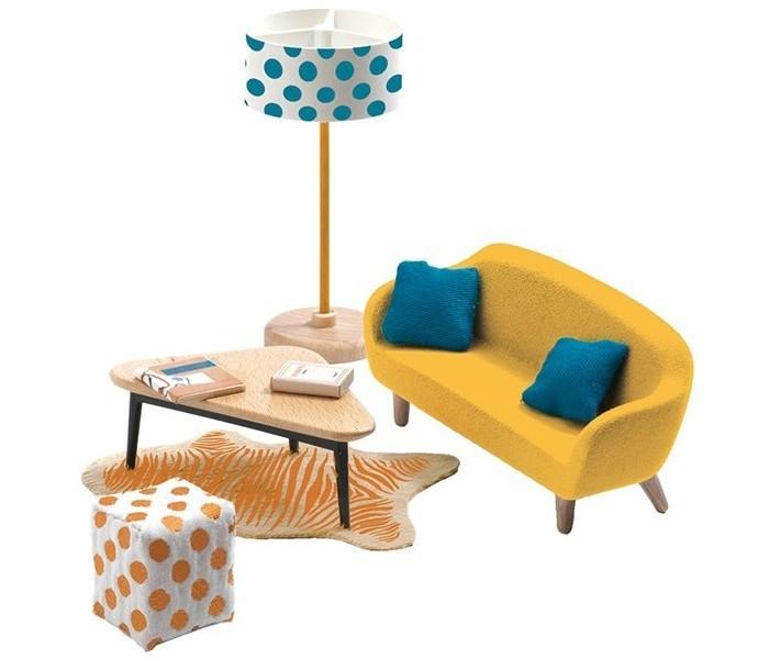 Кукольные домики и мебель Djeco Мебель для кукольного дома Оранжевая гостиная