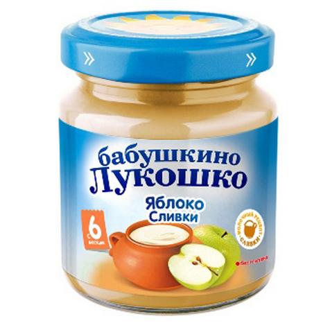 Пюре Бабушкино лукошко Пюре Яблоко, сливки с 6 мес., 100 г пюре бабушкино лукошко кабачок яблоко с 5 мес 100 г