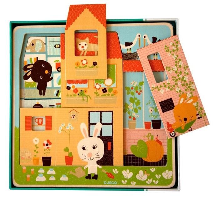 Деревянные игрушки Djeco Трехслойный пазл Дом зайцев djeco пазл для малышей дом зайцев