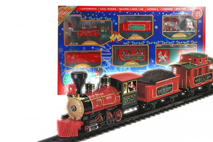 Eztec Железная дорога North Pole Express Train Set 22 частиЖелезная дорога North Pole Express Train Set 22 частиEztec Железная дорога North Pole Express Train Set 22 части выполнена в новогоднем дизайне, который приоткроет Вашему малышу настоящую сказку. Это реалистичная уменьшенная модель поезда.  Для ребенка собрать железную дорогу станет увлекательным времяпровождением, к которому надобно приложить все свои умения, внимание, терпение и навыки.  Особенности: Движение: вперед, остановка Звук имитации движения состава развлечет детей во время игры, а свет прожектора создаст реалистичность Длина железнодорожного полотна: 3.2 м. В комплекте: паровоз вагон с углем пассажирский вагон 12 изогнутых участков дороги 7 дорожных знаков.  Размер локомотива: 34х12,5х19 см<br>