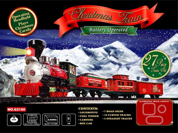 Eztec Железная дорога Santa Express 27 частейЖелезная дорога Santa Express 27 частейEztec Железная дорога Santa Express 27 частей выполнена в новогоднем дизайне, который приоткроет Вашему малышу настоящую сказку. Это реалистичная уменьшенная модель поезда.  Для ребенка собрать железную дорогу станет увлекательным времяпровождением, к которому надобно приложить все свои умения, внимание, терпение и навыки.  Особенности: Дорогу можно собрать трех видов: квадрат, круг, овал Движение: вперед, остановка Звук имитации движения состава развлечет детей во время игры, а свет прожектора создаст реалистичность Максимальная скорость: 0.84 км/час Длина железнодорожного полотна: 4.5 м. В комплекте: паровоз вагон с углем товарный вагон служебный вагон 12 изогнутых участков дороги, 4 прямых 7 дорожных знаков. Размер локомотива: 34х12,5х19 см<br>