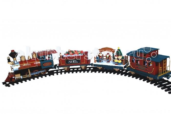Eztec Железная дорога Christmas Express Train SetЖелезная дорога Christmas Express Train SetEztec Железная дорога Christmas Express Train Set выполнена в новогоднем дизайне, который приоткроет Вашему малышу настоящую сказку. Это реалистичная уменьшенная модель поезда.  Для ребенка собрать железную дорогу станет увлекательным времяпровождением, к которому надобно приложить все свои умения, внимание, терпение и навыки.  Особенности: Возможно управлять поездом с помощью пульта управления (входит в комплект) Движение состава: вперед, назад, остановка Звуковые эффекты: рождественские мелодии Световые эффекты: подсветка паровоза и всех вагонов Длина железнодорожного полотна: 5.5 м. В комплекте: паровоз Санты (светящаяся труба, светящийся прожектор) вагон с подарками (сверху белый снег - подсвечивается) вагон в виде рождественского катка с новогодней елкой (подсветка) и фигурами эльфов, которые начинают вращаться вагон-ресторан с освещенными окнами 4 рождественские фигурки движутся вверх и вниз, в процессе движения поезда 12 изогнутых участков дороги, 8 прямых.<br>