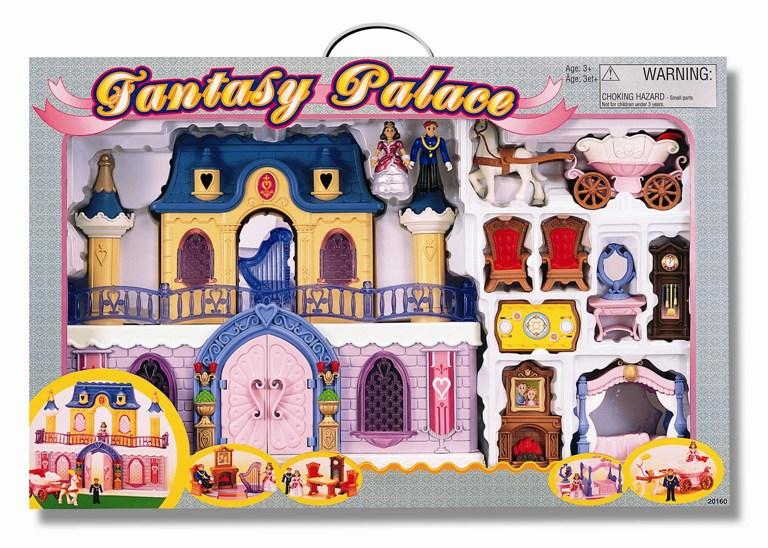 Keenway Fantasy Palace Дворец с каретой и предметамиКукольные домики и мебель<br>Игровые наборы «Fantasy Palace» для маленькой принцессы.  Каждая девочка представляет себя прекрасной принцессой, которая живет в роскошном дворце.  Поэтому она так любит кукол, наряжает их в красивые платья, но ей все-таки не хватает королевского замка, где можно уютно расположить и принца, и принцессу.  Именно эти детские мечты и попытался осуществить известный производитель Keenwаy, представив на рынок игровой набор «Fantasy Palace». Сам дворец представляет собой большой двухэтажный замок, украшенный арками и колоннами.   В наборе находятся карета, которая запряжена белой лошадью, принц, принцесса и мебель для дворца.   Большой ряд предложенных аксессуаров поможет воспроизводить жизнь королевской семьи.   Но главное – у фигурок гнутся руки и ноги, что позволяет их расположить и в карете, и за столом, что придает игре реалистичность.   В набор входят: • Дворец 10*45*35 см • Фигурки принца и принцессы 3,5*4,5*8 см • Лошадь – 3*10*10 см • Карета 7,5*19*8 см • Кровать 9*12*10 см • Стол 5,5*9*4,5 см • Два кресла 4,5*5*8 см • Трюмо 3,5*6*10 см • Часы 2*4,5*10 см • Камин 3*7,5*11 см • Картонная площадка • Арфа.  Игровой набор «Fantasy Palace» поможет девочке развивать фантазию и воображение.  Родители не успеют и оглянуться, как их принцесса начнет обыгрывать с помощью королевского дворца новые сюжеты сказок, в том числе придуманные самостоятельно. Сюжетно-ролевая игра предназначена для ребенка старше 3 лет.  Для игры батарейки не требуются. Игрушки для девочек - большой выбор в интернет-магазине.  Продукция сертифицирована, экологически безопасна для ребенка, использованные красители не токсичны и гипоаллергенны.