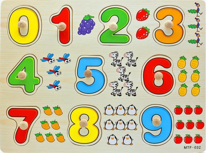 Деревянные игрушки QiQu Wooden Toy Factory Рамка Цифры оптом купить детские игрушки в москве