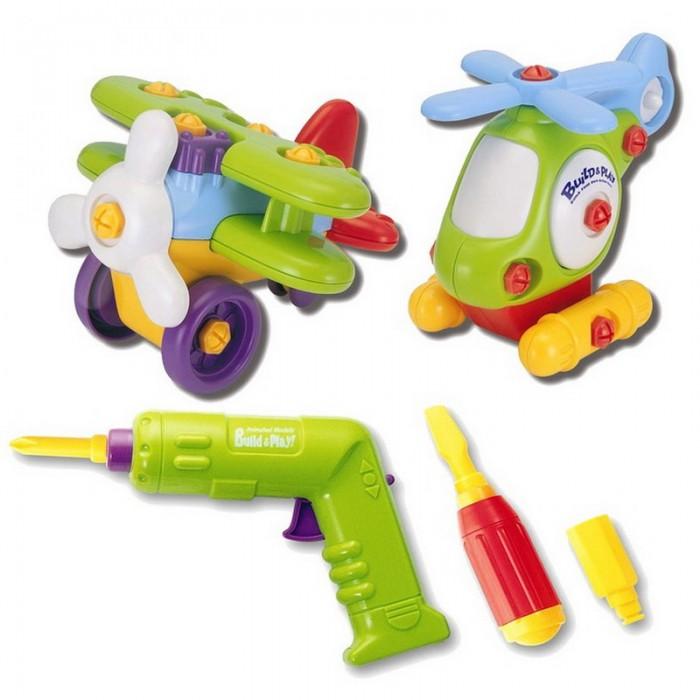 Keenway Набор Build&amp;Play аэроплан + вертолет 2 в 1Набор Build&amp;Play аэроплан + вертолет 2 в 1Когда компания Keenway выпустила на рынок свою серию под названием Build&Play, она произвела настоящий фурор. Качественные, достаточно крупные для детских пальчиков детали, великолепное качество и высокая игровая ценность – все это сразу же подкупило родителей.   Малыши же не могли оторвать своего взгляда от набора, позволяющего самостоятельно собрать игрушки, затем разобрать и снова собрать.  В эту серию входит множество наборов, в том числе и это – аэроплан и вертолет.  Это своеобразный конструктор, который позволяет из множества деталей собрать интересную технику – аэроплан и вертолет.   Аэроплан состоит из 18 деталей и имеет размеры 16*17*12 сантиметров в собранном состоянии.   Вертолет состоит из 19 деталей, а его размеры составляют 17*10*14 сантиметров.    Если собрать игрушки правильно, у них будут дополнительные эффекты.  Так, у аэроплана во время движения будет крутиться пропеллер, а у вертолета – хвостовой винт.  В игровые наборы дополнительно входят инструменты - отвертка и шуруповерт, а так же универсальные насадки, подходящие для каждого из них.  Насадки представлены в трех вариантах – шестигранник, а также плоская и крестовая отвертки.   Насадки меняются довольно легко, и ребенок сможет самостоятельно справиться с этой работой.   Шуруповерт работает от батареек, а чтобы привести его в работу, нужно нажать на рычаг. Чтобы переключить направление шуруповерта, следует воспользоваться рычагом, расположенным на его ручке.  Игровой набор подойдет для ребенка от 3 лет.  Для работы шуруповерта потребуется 2 батарейки АА, которые находятся в комплектации.   Продукция сертифицирована, экологически безопасна для ребенка, использованные красители не токсичны и гипоаллергенны.<br>
