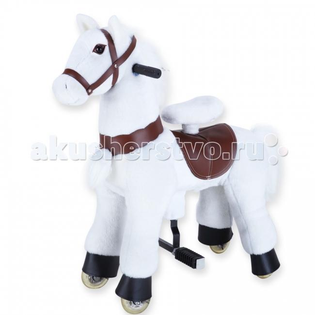 Каталка LAPA House  Лошадка белая 72 смЛошадка белая 72 смЛошадка механическая белая лошадка 72см   Чтобы отправиться в путешествие верхом на такой лошадке, достаточно просто сесть в седло, а затем привстать на педали-стремена.  Лошадка полностью механическая, и приходит в движение именно за счет такого переноса центра тяжести ребенка.   Во время движения ребенок держится за удобные ручки на шее лошадки, а поворачивая их, как руль велосипеда, управляет направлением движения. Игрушка развивает небольшую скорость, благодаря чему сопровождающий взрослый может спокойно идти рядом. Механизм игрушки рассчитан на долгую и активную эксплуатацию, поэтому ее внутренняя рама из стали отличается повышенной надежностью.   Каждая игрушка собирается вручную и проходит необходимый контроль качества. Конструкция устойчива в покое и в движении, есть защита от качения назад, а также ограничители, обеспечивающие безопасный угол поворота при движении.   Мягкий материал, имитирующий шкуру животного, легко снять и почистить, так что игрушку можно смело использовать не только дома, но и на улице.<br>