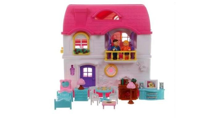 Red Box Дом для куклыКукольные домики и мебель<br>Red Box Дом для куклы это желанный подарок для любой девочки. Он такой яркий, изящный и красивый, что играть с ним - одно удовольствие.  Дорогие родители помните, что сюжетно ролевые игры способствуют развитию и адаптации детей к реальной жизни, в обществе сверстников.  Возраст: от 3-х лет  В комплекте 16 предметов: семья (папа и мама) телевизор тумба под телевизор стол 4 стула бра кровать двухспальная туалетный столик с зеркалом комод камин журнальный столик.