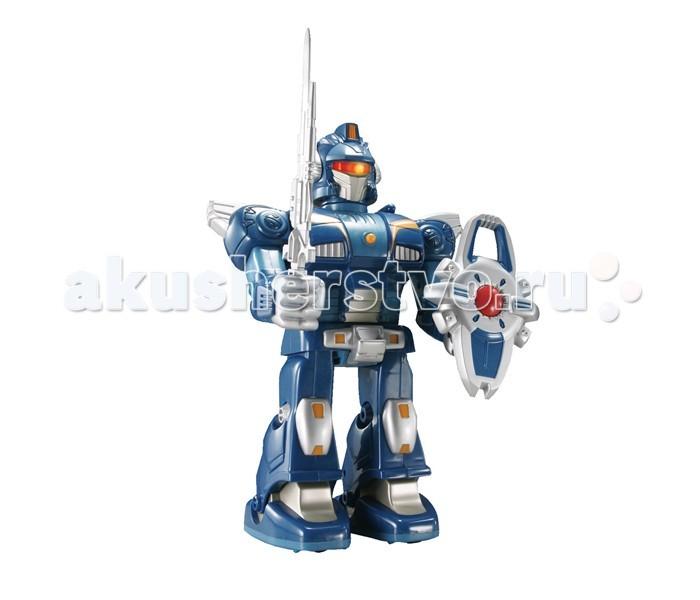 Интерактивная игрушка Hap-p-Kid Робот-воин (синий) 26 смРобот-воин (синий) 26 смКоллекционная фигурка робота-воина с полным боевым арсеналом и со светящимися глазами принесет своему обладателю победу в игровых сражениях.  Игрушечная фигурка имеет подвижные элементы, вращающуюся голову и совершает движение благодаря входящим в комплект элементам питания.   Робот может поворачивать туловище на 360°, оснащен реалистичными звуковыми и световыми эффектами.   С таким функциональным игровым приобретением каждому маленькому фантазеру можно выстраивать различные захватывающие сюжеты и придумывать интересные ролевые игры.   В процессе новой увлекательной игры тренируется мелкая моторика и ловкость движений, зрительное и тактильное восприятие, проявляются фантазии и воображение.   Все составляющие игрушки выполнены из прочного и высококачественного материала, стойкого к изнашиванию и не содержащего в составе вредных красителей.  Работает от 2 батареек типа АА (в комплект входят).<br>