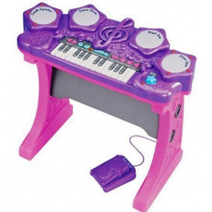 Музыкальный инструмент Red Box Синтезатор электронныйМузыкальные инструменты<br>Red Box Синтезатор электронный музыкальная игрушка для детей.  Ребенок может изучать ноты, придумывать свои мелодии или накладывать музыку на уже готовые мелодии 20 различных звуков от барабана или педали 3 демонстрационные мелодии 15 различных ритмов при нажатии белых клавиш Игра сопровождается световыми эффектами Громкость звучания можно регулировать 4 клавиши ударника (Crash Cymbal, Snare Drum, High Tom, Floor Tom) Функция записи Для работы синтезатора требуются 4 батарейки типа С СR14 1,5 V  (в комплект не входят) В комплекте: синтезатор педаль ударника 2 барабанные палочки Возраст: 3+ Размер синтезатора: 58 х 29 х 53 см