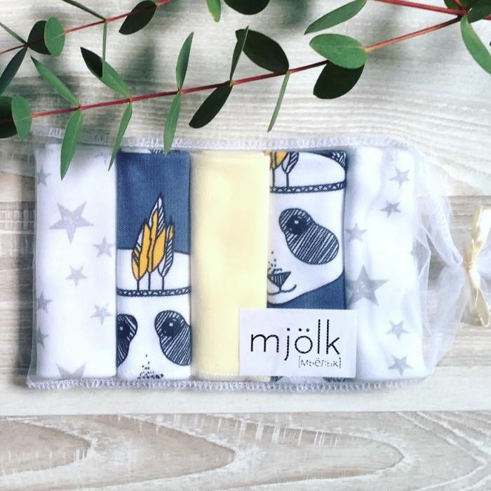 Текстильные салфетки MamaPapa Набор платочков слюнявчиков Панды 5 шт