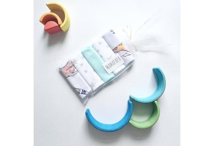 Текстильные салфетки MamaPapa Набор платочков слюнявчиков Киты 5 шт набор слюнявчиков пома на завяках 7 шт