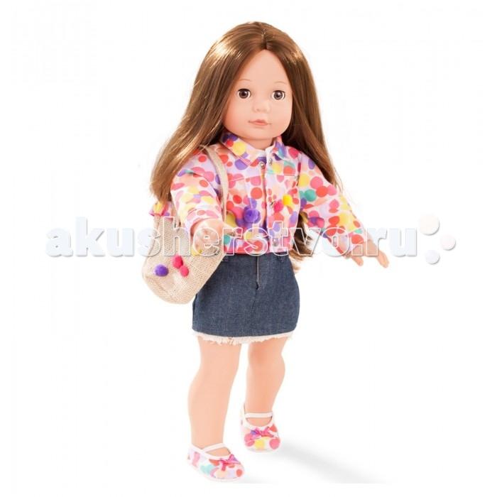 Gotz Кукла Елизавета 46 смКукла Елизавета 46 смGotz Кукла Елизавета 46 см - это очаровательная кукла с длинными темными волосами станет замечательным подарком для девочки. Кукла с виниловым подвижным телом подходит для активных игр дома и на улице. У куклы мягкое тело, ручки и ножки не сгибаются. Голова поворачивается. Глазки закрываются.  Куклу можно переодевать и делать различные прически. Кукла имеет длинные темные  волосы, которые прочно вшиты для избежания выпадения во время интенсивных игр детей.  Она одета в стильный наряд, состоящий из пестрой курточки и короткой джинсовой юбочки. На ножках - яркие текстильные туфельки в тон куртке. В комплекте с куколкой есть красивая сумочка.  Кукла, одежда и аксессуары выполнены из качественных материалов с учетом необходимых стандартов, соответствующих европейским нормативам. Куклу можно мыть, для поддержания одежды в опрятном виде рекомендуется щадящая машинная стирка при температуре 30 градусов.  Кукла приятна на ощупь, стимулирует сенсорное развитие ребенка, знакомит с новыми материалами и формами.<br>