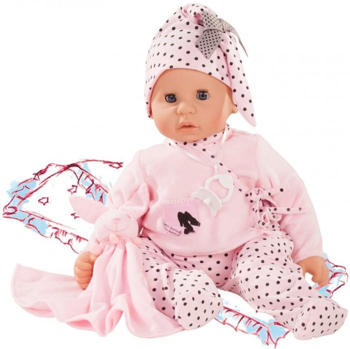 Gotz Малыш Cookie 48 смКуклы и одежда для кукол<br>Gotz Малыш Cookie 48 см - эта кукла в розовом костюме и с маленькой игрушкой зайчика будет сопровождать ребенка на протяжении всего дня. С куклой можно играть и брать с собой в кроватку. Кукла приятна на ощупь и располагает к общению.  Кукла может принимать различные позы. Игрушку можно переодевать, укладывать спать и брать с собой на прогулку. Ребенок сможет придумать много интересных игр с приятной на ощупь игрушкой. У куклы мягкое тело, голова, руки и ножки из винила. Головка поворачивается. Глазки закрываются, когда малышка ложится спать.   Кукла полностью повторяет вид маленького ребенка. Детально проработанные положения пальчиков, мимика детского личика с закрывающимися глазами с ресницами располагают к общению, ребенок с удовольствием ощупывает и изучает игрушку.  Кукла и аксессуары для игры выполнены из качественных, безопасных для игр детей материалов, которые соответствуют европейским стандартам качества.   В наборе: кукла Малыш в одежде игрушка пустышка