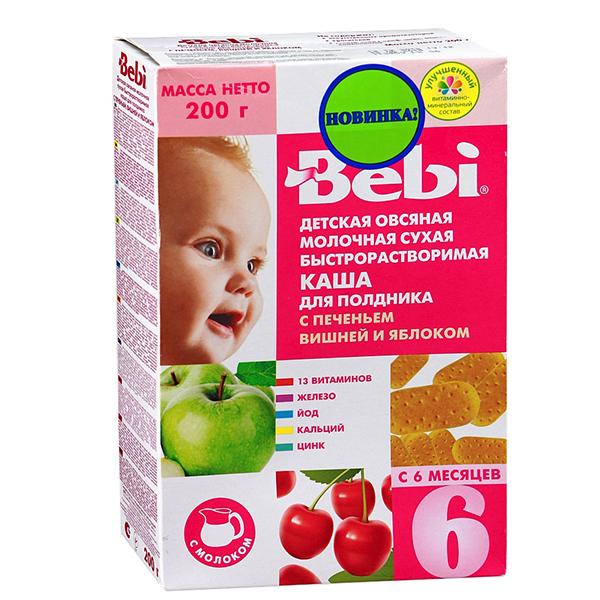 Каши Bebi Молочная Овсяная каша с печеньем вишней и яблоком 200 г bebi премиум каша печенье с малиной и вишней пшеничная молочная с 6 месяцев 200 г