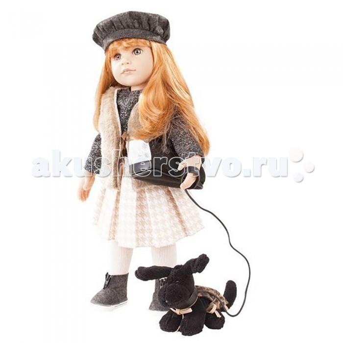 Gotz Кукла Ханна с собачкой 50 смКукла Ханна с собачкой 50 смGotz Кукла Ханна с собачкой - эта очаровательная кукла станет замечательным подарком для девочки.   Кукла с твердым виниловым телом подходит для активных игр дома и на улице. Куклу можно переодевать и делать различные прически. Кукла имеет длинные рыжие волосы, которые прочно вшиты для избежания выпадения во время активных игр детей. Ручки и ножки у куклы не сгибаются. Голова поворачивается. Глазки не закрываются.  Куколка одета в стильную юбку, теплую кофту, меховую накидку, на ножках колготки и теплые полусапожки, а в руках сумочка для переноски собачки. На голове у Ханны симпатичный беретик, ее рыжие волосы блестят в лучах солнца, делая ее еще красивее. Если ее преданный дружок устанет, она может посадить его в сумку и продолжать прогулку. На самой собачке надета накидочка.  В наборе: кукла Ханна в одежде и обуви сумочка для переноски собачки игрушечная черная собачка на поводке и в накидке Кукла, одежда и аксессуары выполнены из качественных материалов с учетом необходимых стандартов, соответствующих европейским нормативам. Куклу можно мыть, для поддержания одежды в опрятном виде рекомендуется щадящая машинная или ручная стирка при температуре 30 градусов.<br>