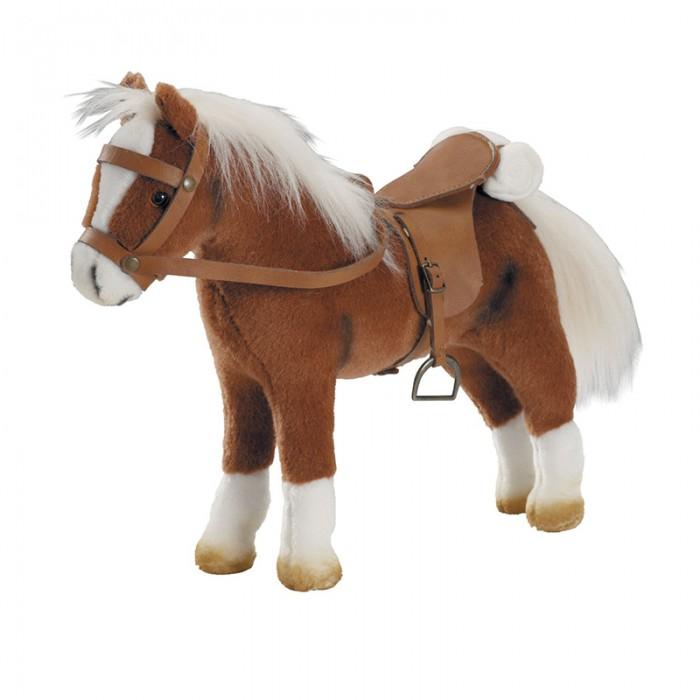 Мягкая игрушка Gotz Коричневая лошадь с седлом и уздечкой 40 см