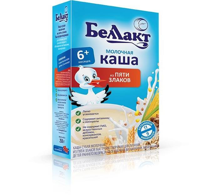 Каши Беллакт Молочная каша 5 злаков с 7 мес., 250 г молочная продукция беллакт молоко стерилизованное с витаминами а с 2 5% 8 мес 200 мл