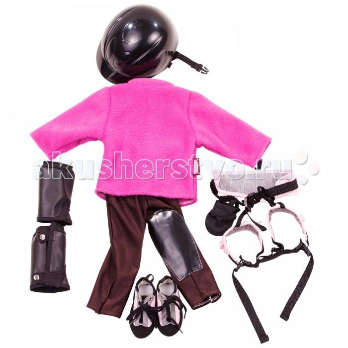 Gotz Набор одежды для конного спорта (9 предметов)Набор одежды для конного спорта (9 предметов)Gotz Набор одежды для конного спорта - этот превосходный набор позволит девочке придумать новый образ своей любимой кукле и разнообразит ее игру.  Набор включает: Флисовая кофточка Лосины Защита для ног Упряжь Ботиночки Стильный набор выполнен в розовых тонах и подойдет ко всем нарядам куколок. Одежду можно комбинировать между собой. Все детали набора изготовлены из высококачественных материалов, одежду можно стирать. Комплект подходит для кукол высотой 46-50 см<br>