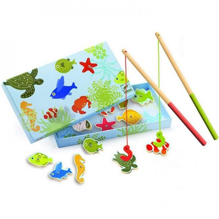 Игры для малышей Djeco Магнитная игра Тропическая рыбалка djeco игра жили были… с 4 лет