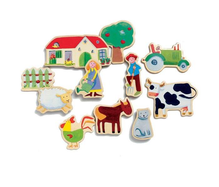 Игры для малышей Djeco Детская магнитная игра Ферма 24 детали тактильное лото животные