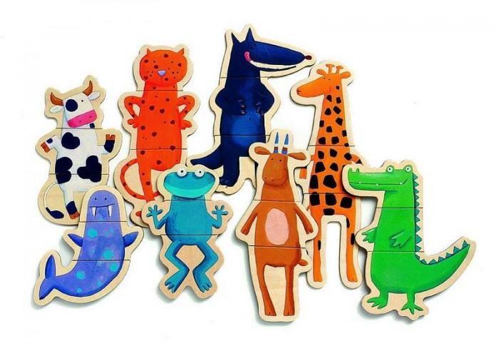 Пазлы Djeco Детская развивающая магнитная игра Деревянный пазл Забавные животные