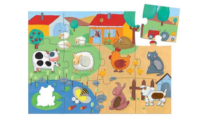 Картинка для Djeco Пазл-гигант тактильный Ферма