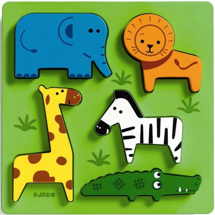 Деревянные игрушки Djeco Сортировка-пазл Животные сафари djeco пазл для малышей лесные животные