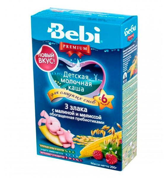Каши Bebi Молочная каша Premium Для сладких снов 3 злака с малиной и мелиссой с 6 мес. 200 г каша молочная bebi premium сладкие сны 3 злака с яблоком и ромашкой с 6 мес 200 г